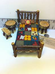 mini furniture. 1 inch scale 8 piece rustic miniature dollhouse dh doll furniture bed table log cabin woodland mini