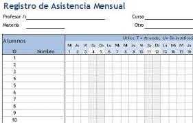 Descarga Plantilla Para Registro De Asistencia De Alumnos En