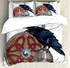 raven bed sheets viking duvet cover set raven on steel helmet sword shield warfare army meval