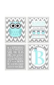 nursery art owl print birth stats personalize baby name owls gray aqua chevron baby boy room custom wall art set of 4 8x10  on personal wall art baby name with owl nursery wall art print set chevron gray pink purple tree