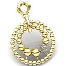 real 0 1carat round diamond las beaded cer ball circle pendant 10k gold