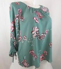 Liz Claiborne Size Chart Details About Liz Claiborne Size 3x Green Flower 3 4 Sleeve Polyester Blouse