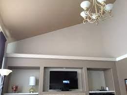 large ledge above built in shelves