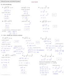 solving radical equations worksheet answers