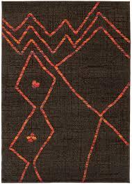 Dark Brown And Orange Abstract Modern Pattern Area Rug