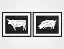Cow Butcher Chart Butcher Diagram Art Print Cow Butcher Chart Set Of Two Pig Art Print Cow Art Print Rustic Kitchen Art Kitchen Decor Kitchen Wall Art