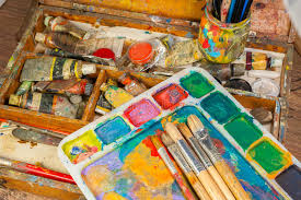 art supplies and painting art brushes stock image image 63793753