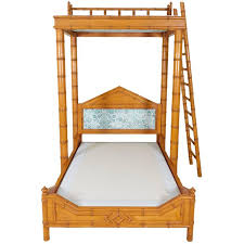 Faux Bamboo Bed with Platform Canopy