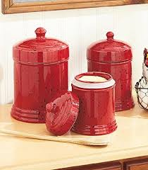 Buy Set of 3 Speckled Red Canisters Kitchen Storage Organizer Counter Top  Decor Ceramic Jars in Cheap Price on Alibaba.com