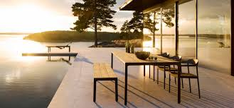 scandinavian outdoor furniture. Illum Chair, Bench And Table Outdoor With A Scandinavian Design Twist In Aluminium Teak Furniture