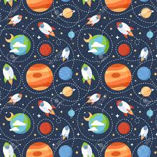 Space Pattern Best Seamless Children Cartoon Space Pattern With Rockets Planets