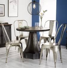 vintage industrial dining table large rustic furniture round metal bar kitchen