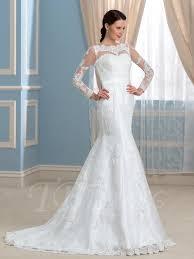 designer trumpet mermaid open back lace long sleeve wedding dress