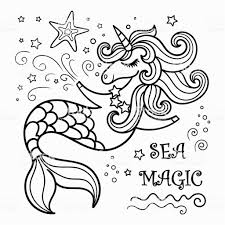Cute Mermaid Unicorn Coloring Book Immagini Vettoriali Stock E