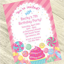 Birthday Invitation Party Candy Party Custom Invitation