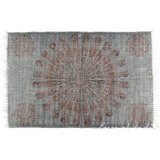 mandala cotton block print accent area rug flat weave hand woven 4 x 6 ft overdyed