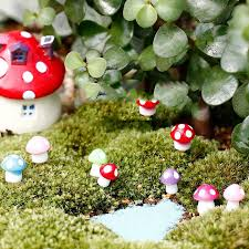 fairy garden miniatures. Unique Miniatures 10Pcslot Fairy Garden Miniatures Mini Mushroom Decoration Resin  Craft Miniature Figurines With G