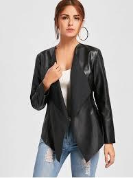 faux leather waterfall jacket black l