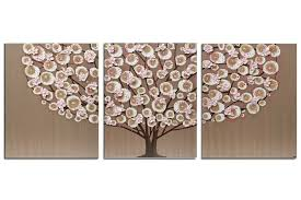 nursery art brown and pink tree on pink and brown wall art with brown and pink nursery wall art painting triptych large amborela