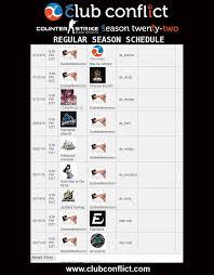 Schedule Conflict The Schedule Is Up Ten Cs Go Teams Begin Club Conflict
