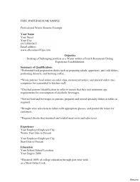 Best Resume For Server Position Res Divefellows Com