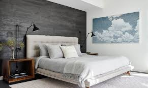 bedrooms with gray accent walls modern
