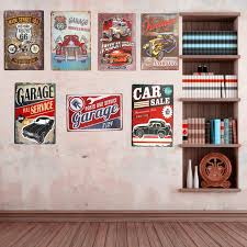 vintage metal wall decor vintage metal tin signs car route 66 art posters hot rod garage