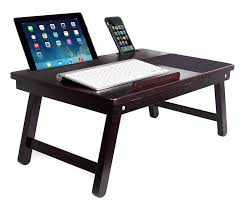 com sofia sam multi tasking laptop bed tray lap desk supports laptops up to 18 inches walnut computers accessories