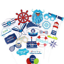 Online Shop <b>Nautical Photo Booth</b> Props 21pc Baby Boy First ...