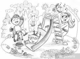 Carta Da Parati Parco Giochi 3 Bambini Felici Giocare Disegnati A
