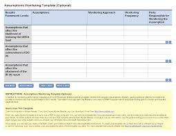 program sheet template assumptions monitoring template optional project starter usaid