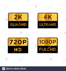 Golden 2k quad hd, 4k ultra hd, 720 hd, and 1080p full hd Video Resolution  Icon Logo; High Definition TV / Game Screen monitor display Label Stock  Vector Image & Art - Alamy