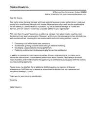 General Sales Manager Cover Letter Template Cover Letter Templates