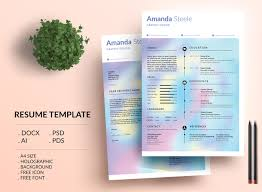 Holographic Resume Template Cv Template Letterhead By