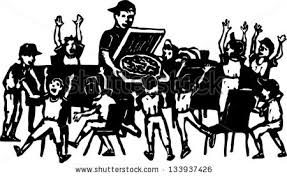 pizza party clipart black and white. Exellent Black Black And White Vector Illustration Of Sports Team Pizza Party Intended Pizza Party Clipart And White W