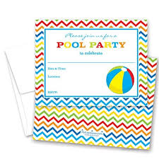 kids birthday party invitations 24 pool party beach ball fill in kids birthday party invitations by myexpression com b00xqhli2i