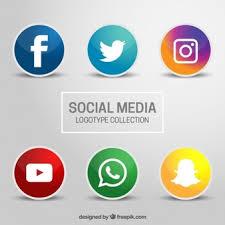 social media logos. six icons for social networks on a gray background media logos
