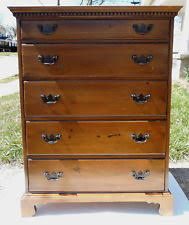 Antique Davis Cabinet Co Solid Wood Double Dovetail Chest of 5 Drawers  Dresser