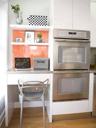 office in kitchen. contemporary kitchen office nook with orange wall in