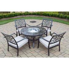 6 piece aluminum outdoor dining set with oatmeal cushions