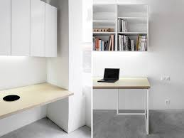 office desk design ideas. Unique Office Simplistic Rectangular Laptop Office Desk Design With Wall Mounted Book  Storage Cabinets Also Freestanding In White Minimalist Furniture Home  Ideas