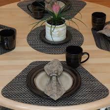 interior placemats for round tables com set of driftwood black tan wipeable wedge shaped delectable table