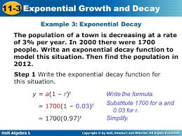 holt algebra 1 11 3 exponential growth and decay example 3 exponential decay the