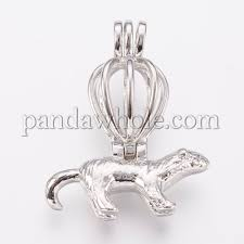 brass cage pendants hollow hot air balloon and mouse 00s91d