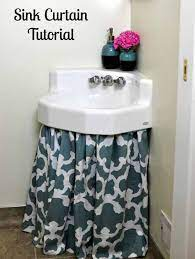 How To Make A Sink Curtain Skirt Easy Diy Tutorial Bumblebee Linens