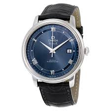 omega watches on jomashop omega de ville prestige automatic blue dial black leather men s watch