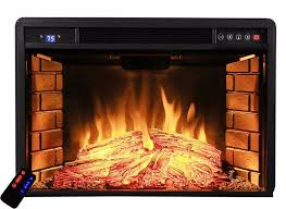 costway 28 5 fireplace electric embedded insert heater glass log heater flat electric fireplace insert