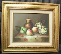 "M. Aaron Still Life Fruit Oil Painting, 10"" x 12"", Nice! Signed 
