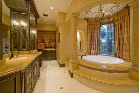 garden tub decorating ideas with beige curtain also iron chandelier and oversized window with recessed lighting