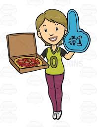 foam finger clipart. female sport fan holding a foam finger and pizza clipart